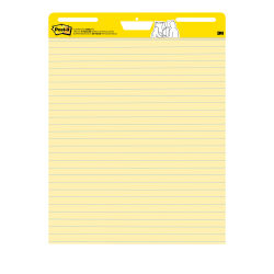 "Post-it® Super Sticky Easel Pads, Lined, 25"" x 30"", Yellow/Blue, Pack Of 2 Pads"