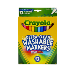 Crayola® Washable Markers, Thin Line, Assorted Classic Colors, Box Of 12