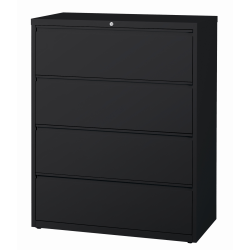 "WorkPro® 42""W Lateral 4-Drawer File Cabinet, Metal, Black"