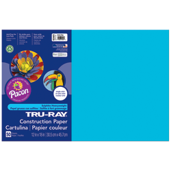"Tru-Ray® Construction Paper, 12"" x 18"", 50% Recycled, Atomic Blue, Pack Of 50"