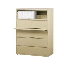 "WorkPro® 42""W Lateral 5-Drawer File Cabinet, Metal, Putty"