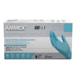 Ammex Professional Powder-Free Exam-Grade Nitrile Gloves, Medium, Blue, Box Of 100 Gloves
