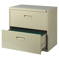 "Realspace® SOHO 30""W Lateral 2-Drawer File Cabinet, Metal, Putty"