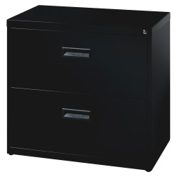 "Realspace® 30""W Lateral 2-Drawer File Cabinet, Metal, Black"