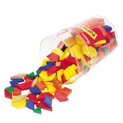 """Learning Resources® Pattern Blocks, 5 3/4""""H x 5 3/4""""W x 8 5/16""""D, Assorted Colors, Grades K-8, Pack Of 250"""