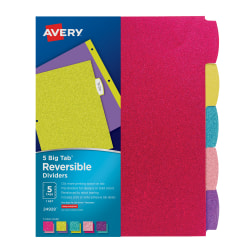 """Avery® Big Tab™ Reversible Fashion Dividers, 8 1/2"""" x 11"""", Multicolor Glitter, Pack Of 5"""
