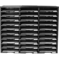 "Storex Stackable Literature Sorter - 15000 x Sheet - 30 Compartment(s) - 9.50"" x 12"" - 25.5"" Height x 14.1"" Width31.4"" Length - Black - Plastic - 1Each"