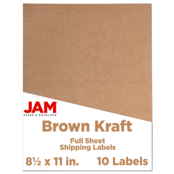 """JAM Paper® Full-Page Mailing And Shipping Labels, 337628602, 8 1/2"""" x 11"""", Brown Kraft, Pack Of 10"""