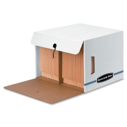 """Bankers Box® 35% Recycled Side-Tab Storage Files, 11 1/4"""" x 16"""" x 14"""", White/Blue, Case Of 12"""