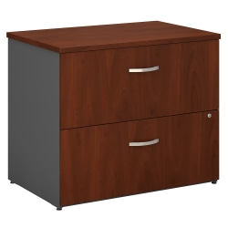 "Bush Business Furniture Components 36""W Lateral 2-Drawer File Cabinet, Hansen Cherry/Graphite Gray, Standard Delivery"
