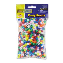 Chenille Kraft Pony Beads, 6 mm x 9 mm, Assorted Colors, Pack Of 1,000