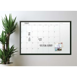 """U Brands Magnetic Dry Erase Monthly Calendar Board, 48"""" X 36"""", Black Aluminum Frame"""