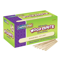 "Creativity Street Wood Crafts Jumbo Craft Sticks, 6"" x 3/4"" x 2mm, Natural, Box Of 500"