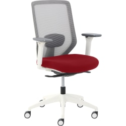 True Commercial Phoenix Mesh/Fabric Mid-Back Task Chair, Red/Off-White