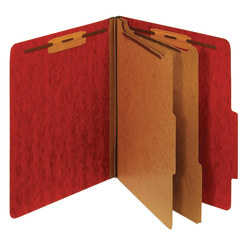 [IN]PLACE® Moisture-Resistant Classification Folders, Letter Size, 2 Dividers, 30% Recycled, Dark Red, Box Of 10