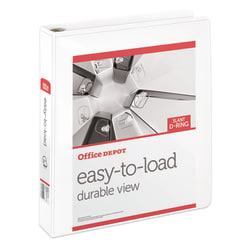 """Office Depot® Brand Heavy-Duty Easy-To-Load Slant D-Ring View Binder, 1 1/2"""" Rings, 56% Recycled, White"""