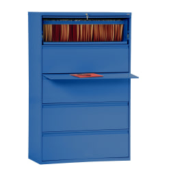 "Sandusky® 800 36""W Lateral 5-Drawer File Cabinet, Metal, Blue"