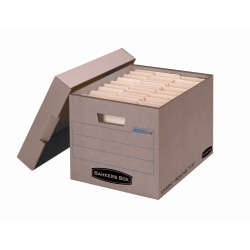 "Bankers Box® Mystic™ Storage Boxes With Lift-Off Lids, Letter/Legal Size, 10"" x 12"" x 15"", 85% Recycled, Kraft/Green, Case Of 25"