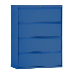 "Sandusky® 800 42""W Lateral 4-Drawer File Cabinet, Metal, Blue"