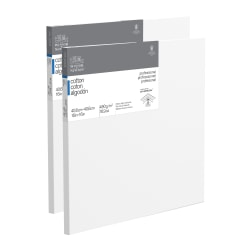 """Winsor & Newton Professional Cotton-Stretched Traditional Canvases, 16"""" x 16"""", White, Pack Of 2"""