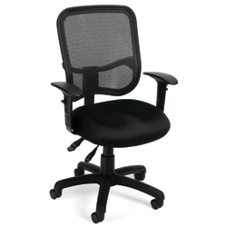 OFM Mesh Comfort Series Fabric Mid-Back Task Chair With Arms, Black