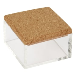 """Office Depot® Small Acrylic Organizer With Cork Lid, 2""""H x 3""""W x 3""""D, Clear"""