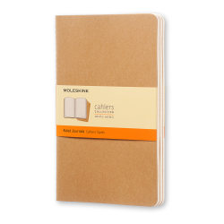 """Moleskine Cahier Journals, 5"""" x 8-1/4"""", Faint Ruled, 80 Pages (40 Sheets), Kraft Brown, Set Of 3 Journals"""