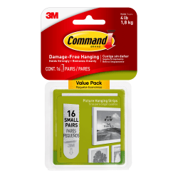 "Command™ Picture Hanging Strips, 1"" x 2"", White, Pack Of 16"
