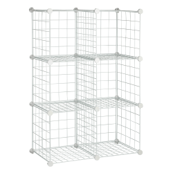 "Honey-Can-Do Modular Mesh Storage Cubes, 44 3/4""H x 30 1/4""W x 14 1/2""D, White, Pack Of 6"