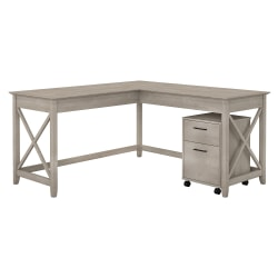 """Bush Furniture Key West 60""""W L Shaped Desk with Mobile File Cabinet, Washed Gray, Standard Delivery"""