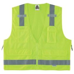 Ergodyne GloWear® Safety Vest, Surveyor's 8250Z, Type R Class 2, Small/Medium, Lime