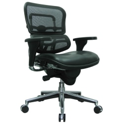 Eurotech Ergohuman Mid-Back Mesh/Leather Chair, Black/Chrome