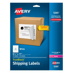 "Avery® Permanent Full-Sheet Labels, 5265, Laser, 8 1/2"" x 11"", White, Box Of 25"