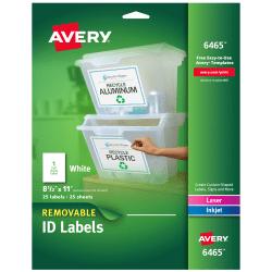 """Avery® Removable Full-Sheet Labels, 6465, Inkjet/Laser, 8 1/2"""" x 11"""", White, Box Of 25"""