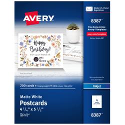 "Avery® Inkjet Postcards, 4 1/4"" x 5 1/2"", Matte White, Box of 200"