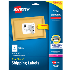 "Avery® TrueBlock® White Laser Shipping Labels, 5264, 3 1/3"" x 4"", Pack Of 150"