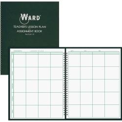"Ward Hubbard Comp. Teacher's 8-period Lesson Plan Book - 9 Month - 8 1/2"" x 11"" - Wire Bound - White, Dark Green - Reference Calendar, Durable, Memo Section"