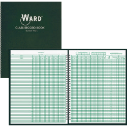 """Ward Hubbard Comp. Teacher's 9-10 Wk Class Record Book - Wire Bound - 8 1/2"""" x 11"""" Sheet Size - White Sheet(s) - Green Print Color - Green Cover - 1 Each"""