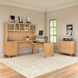 "Bush Furniture Somerset 72""W 3 Position Sit to Stand L Shaped Desk With Hutch And File Cabinet, Maple Cross, Standard Delivery"
