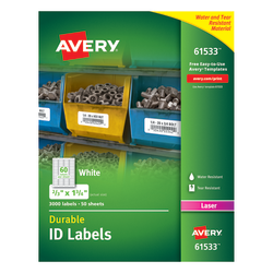 """Avery® Permanent Durable ID Labels With TrueBlock® Technology, 61533, 2/3"""" x 1 3/4"""", White, Pack Of 3,000"""