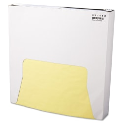 """Bagcraft Grease-Resistant Paper Wraps, 12"""" x 12 """", Yellow, 1,000 Sheets Per Box, Case Of 5 Boxes"""