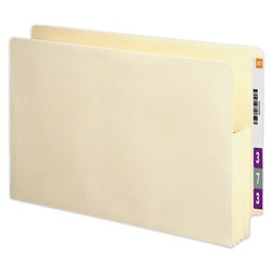 """Smead® Recycled End-Tab File Pockets, Legal Size, 3 1/2"""" Expansion, Manila, Box Of 25"""