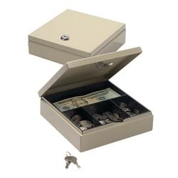 """Office Depot® Brand Small Locking Cash Box, 2 1/8""""H x 6 7/8""""W x 7 11/16""""D, Sand"""