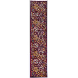"""Linon Home Decor Products Sinclair Area Rug, 144""""H x 24""""W, Stone, Raspberry/Ivory"""