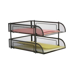 """Mind Reader Metal 2-Piece Stackable File Tray, 2-1/2""""H x 10""""W x 13""""D, Black"""