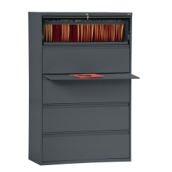 """Sandusky® 800 42""""W Lateral 5-Drawer File Cabinet, Metal, Charcoal"""