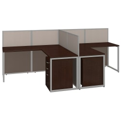 "Bush® Business Furniture Easy Office 2-Person L Desk Open Office With Two 3-Drawer Mobile Pedestals, 44 7/8""H x 60 1/25""W x 119 9/10""D, Mocha Cherry, Premium Delivery"