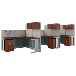 Bush Business Furniture Office in an Hour 3 Person L Shaped Cubicle Workstations, Hansen Cherry, Premium Installation