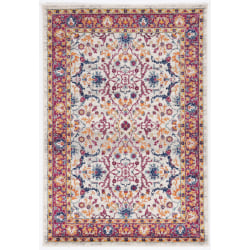 "Linon Home Decor Products Sinclair Area Rug, 36""H x 24""W, Doyle, Ivory/Raspberry"