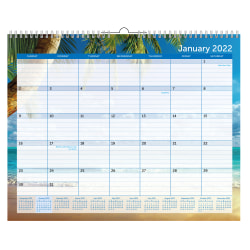 """Office Depot® Brand Monthly Wall Calendar, 12"""" x 15"""", Paradise, January To December 2022"""